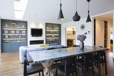Scandinavian style furniture with stunning lighting. Beautiful interior design