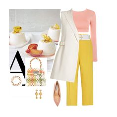 Fashion set White, pink and yellow created via Pink Outfits, White Outfits, New Outfits, Fall Outfits, Fashion Outfits, Future Fashion, Live Fashion, Polyvore Dress, White Gardens