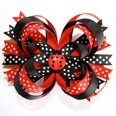 Lady Bug...Red Black Polka Dots Stacked Boutique Hair Bow with a Lady Bug Center Embellishment