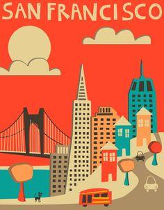 San Francisco Skyline (red version) Art Print