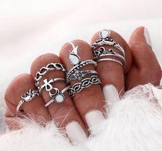10 Piece Silver Boho Ring Set, Girl Heaven Exclusive