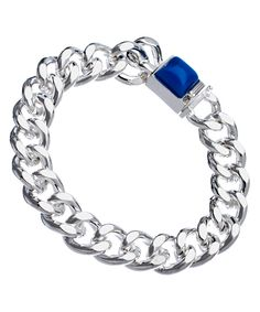 Jules Smith Silver and Blue Hard Rock Life Chain Bracelet