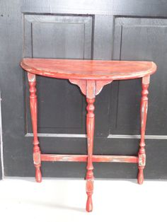 Primitive Antique Half Moon Table Finished By Lesdelectableshome 35 00