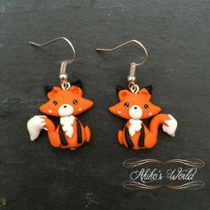 Kawaii fox earrings made out of polymerclay  by AkikosWorld