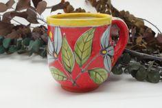 Red with Blue Flowers Hand Painted Majolica Coffee Mug | AtelierMarla - Housewares on ArtFire