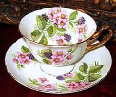"SHELLEY England ""BRAMBLE BERRY FRUIT"" Tea Cup and Saucer FLORAL DUO"