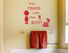 Pirate Vinyl Wall Decal Even Pirates Wash Their by IceCreamVinyl, $11.00