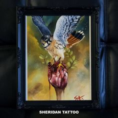 The Stealer . Giclée print for sale A3 size any info Drop in to shop or Email: sheridantattoo@hotmail.com  Original material: Acrylic on paper #painting #paint #print #tattoo #ink #inked #blood #heart #bird #accipiter #cooper #hawk #real #realism #acrylic #illustration #art #artist #Melbourne #Australia #Atona #artisan #trekell #brush