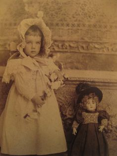 Little Girl and Her Doll Stunning Antique Photo 1800s Child Victorian Pretty | eBay