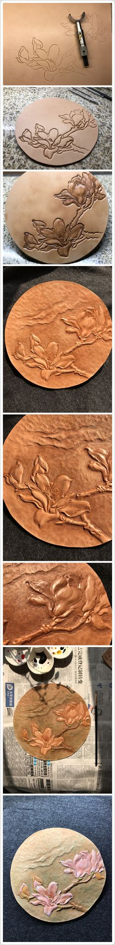 The procedure of spring flowers leather carving#Leather #carving