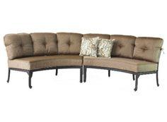 Elizabeth Cast Aluminum Powder Coated 2pc Curved Sofa Set