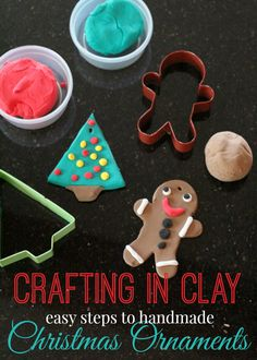 Easy crafting in clay - handmade Christmas ornaments are a great little hands activity for kids during the holidays - perfect for fine motor skills, and makes great decor or gifts! Christmas Activities For School, Christmas Crafts For Kids To Make, All Things Christmas, Handmade Christmas, Diy For Kids, Holiday Crafts, Christmas Ornaments, Creative Arts And Crafts, Easy Crafts