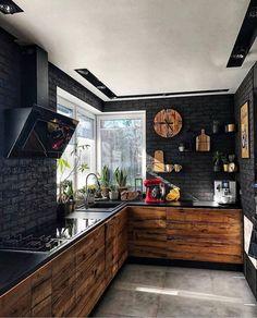 9 best black kitchens kitchen trends you need to see 3 « Kitchen Design Kitchen Room Design, Modern Kitchen Design, Home Decor Kitchen, Rustic Kitchen, Interior Design Kitchen, Decorating Kitchen, Kitchen Ideas, Kitchen Trends, Diy Interior