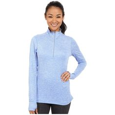 Nike Dri-FIT Element Half Zip Women's Long Sleeve Pullover (245 SAR) ❤ liked on Polyvore featuring activewear, activewear tops, 1/2 zip pullover, nike, long sleeve pullover, sweater pullover and blue pullover