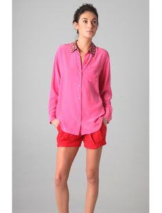 Equipment blouse and Doo.Ri pleated shorts. Love the colour blocking.