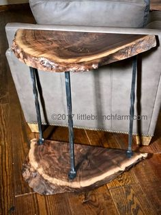 Live Edge Wood Accent Table is part of - Claro walnut accent table with forged metal legs is 28 wide 16 deep and 32 tall Our standard shipping and packing included with the lower 48 USA!