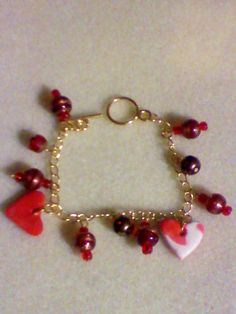 Poly clay hearts and bead bracelet