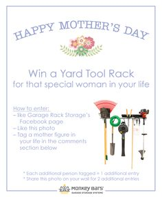 Win a Large Yard Tool Rack for the special lady in your life! Head over to our Facebook page to enter: http://on.fb.me/1F1JjJT