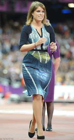 Princess Eugenie looked gorgeous in the Peter Pilotto zip front sail dress, which showed off her figure, as she made at public appearance at the Paralympic Games a the Olympic Stadium in London