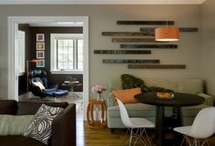 Love the arrangement of the old barn wood slats as interesting wall art. Then again, can you ever go wrong with old wood from a barn?