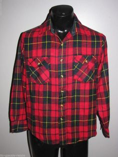 VTG Sears Sportswear Men's Flannel Buffalo Plaid Camping Fishing Hunting Shirt M #Sears #ButtonFront