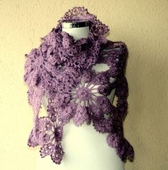 Crochet flower scarf by lilithist on Etsy