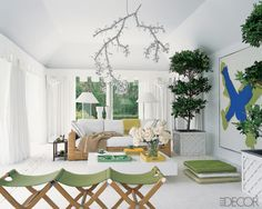green and white rooms | white room green White Rooms with Color