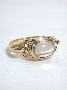Images of Moonstone Art Nouveau Ring - The Three Graces