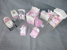 DOLLS HOUSE MINIATURE OOaK Baby and  8 Piece Jemima Puddle Duck Nursery Set
