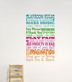 Childrens Decor Playroom Rules Vinyl Wall Art - Playroom Vinyl Wall Decals - Childrens Playroom Wall Decals. $25.00, via Etsy.