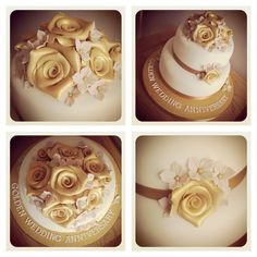Perfect golden wedding anniversary cake
