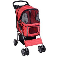 Pet Strollers Cat Dog 4 Wheels Stroller Travel Folding Easy Walk Carrier Red *** For more information, visit image link. This is an Amazon Affiliate links.