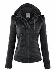 b4f46a723423 Womens Removable Hoodie Motorcyle Jacket M Black / knee high boots
