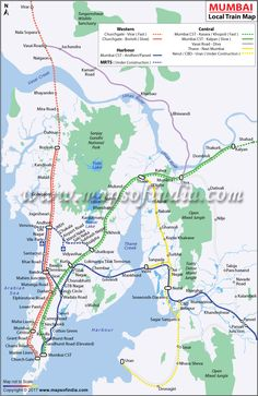 Mumbai Local Train Network Map showing all the Local Train Routes in Mumbai. Also get to know the all local train stations in Mumbai. Local Train Map, Train Route, India Map, India Travel, Mumbai Map, Happy New Year Download, Chhatrapati Shivaji Terminus, Typing Jobs, Geography Map
