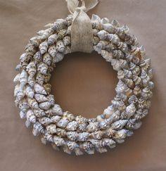 Beach wreath 10 inch seashell wreath coastal decor by JustShellin, $69.99