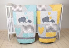 Twin Baby Quilts, Elephant Blankets, Elephant Quilt Blankets, Teal Yellow and Gray Baby Patchwork Blankets Its never easy to choose a colour or theme when youre expecting twins. Especially if they are a boy and a girl. It is always a good practice to go for neutral colours, but you