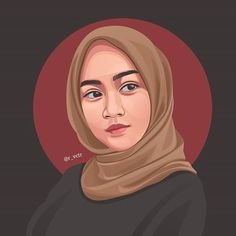 Fashion Illustration Face, Creative Illustration, Portrait Illustration, Vector Portrait, Portrait Art, Caricature, Anime Muslim, Hijab Cartoon, Fashion Design Sketches