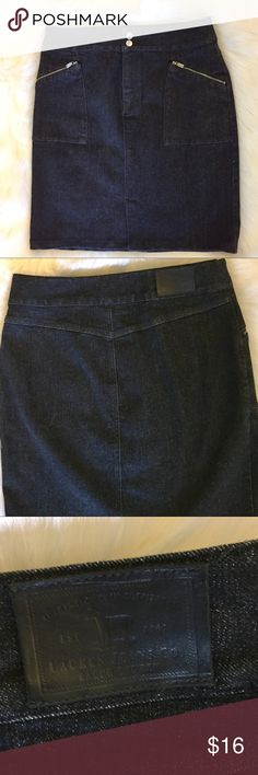 "Lauren Jeans Co. Black Denim Skirt Black denim skirt with silver tone zippers on front pockets from Lauren Jeans Co. Double snap and zip closure. 4.5"" front slit. 15.25"" across waist, 20"" long. Cotton with 2% spandex. Such a versatile piece! Like new Lauren Jeans Co. Skirts"