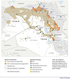 ISIS, areas of influence & dominant groups