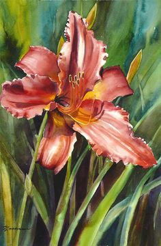 Day Lily Painting by Sue Zimmermann