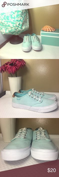 Vans size 7.5!! Super cute shoes!!! Vans: size 7.5: beautiful summer mint green! These shoes have minimal wear & tear and NO STAINS!  They were gently worn and they come from a nonsmoking home! Vans Shoes