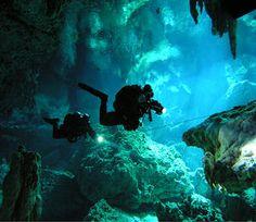 Underwater Cave scuba diving in a Cenote - Mexico Under The Water, Sea Diving, Cave Diving, Underwater Caves, Underwater World, Cool Stuff, Cenote Mexico, Tulum Mexico, Mexico Blue