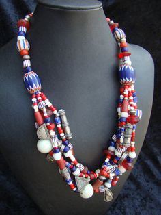 Necklace  Antique African trade beads in red by familyonbikes, $375.00