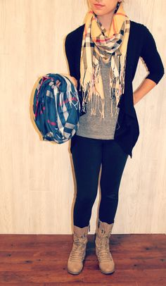 Combat boots simple and cute! ♡ leggings and a pretty scarf