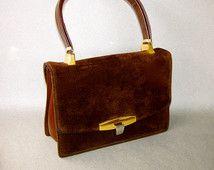 VINTAGE brown suede purse