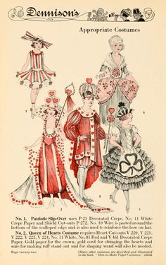 Valentine's costumes from Dennison's Gala Book Masquerade Costumes, Halloween Costumes, Edwardian Fashion, Vintage Fashion, Classy Fashion, Gothic Fashion, Costume Design Sketch, Fancy Dress Ball, Vintage Dress Patterns
