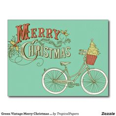 Sold, thank you to the customer in Germany. Green Vintage Merry Christmas Bicycle Postcards - Visit our store to see coordinating Christmas greetings cards, notecards + postage stamps
