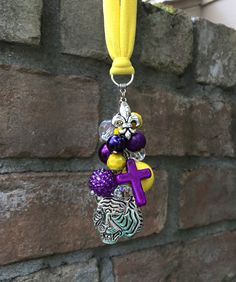 LSU Tigers Gift Rearview Mirror Car Charm for Women Car Accessories Cute Car Rear View Mirror Decor Ornament Purple Gold Yellow Louisiana by TheBadaBling on Etsy