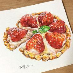 Dessert Illustration, Real Food Recipes, Dessert Recipes, Cute Food Art, Strawberry Tart, Food Sketch, Watercolor Food, Food Painting, Food Drawing