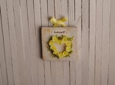 Miniature Shabby Chic Yellow Rose Heart Wall by LittleThingsByAnna